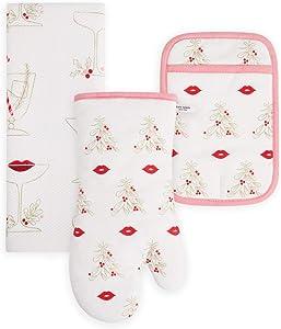 Kate Spade New York Christmas Kiss Kitchen Towel, Oven Mitt & Pot Holder Set, Multi