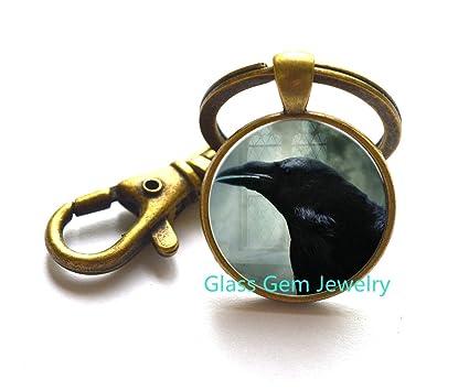 Fashion Black Raven Photo Glass Dome Art Locket Pendant Crow Bird Locket Necklace Halloween Gift.XY33