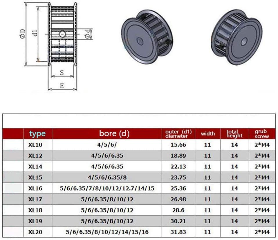 Bore:15mm XL18T Timing Pulley AF Type Synchronous Wheel 15mm Bore For 10mm Width Belt