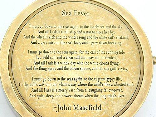 詩コンパス海Fever byジョン?メイスフィールドEngraved詩。
