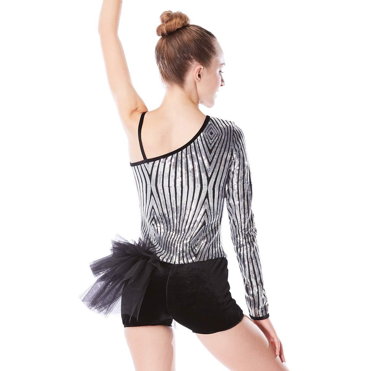 MiDee Diagonale-Hals Pailletten Tap & Jazz SAMT SAMT SAMT Biketard Tanz - Kostüm B01MYPERI3 Bekleidung Viel Spaß 44dc4b