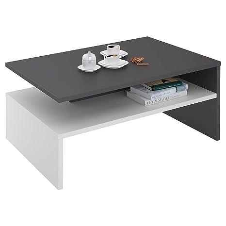 IDIMEX Table Basse Adelaide, Table De Salon Rectangulaire Avec Compartiment  De Rangement Ouvert, En Mélaminé Gris Mat Et Blanc Mat