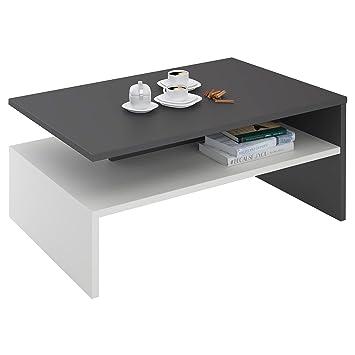 Idimex Table Basse Adelaide Table De Salon Rectangulaire Avec Compartiment De Rangement Ouvert En Melamine Gris Mat Et Blanc Mat