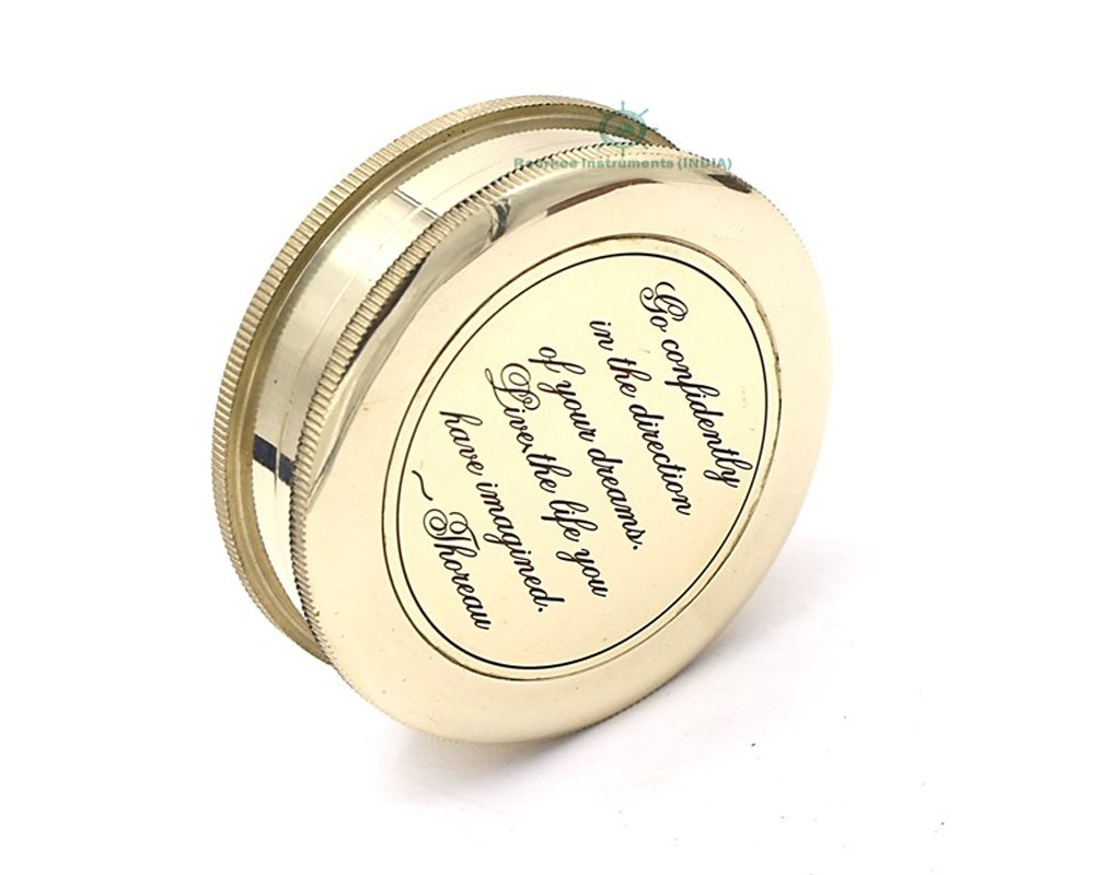 Roorkee Instruments India Go Confidently in The Direction of Your Dreams Thoreaus Quote Compass W//Case