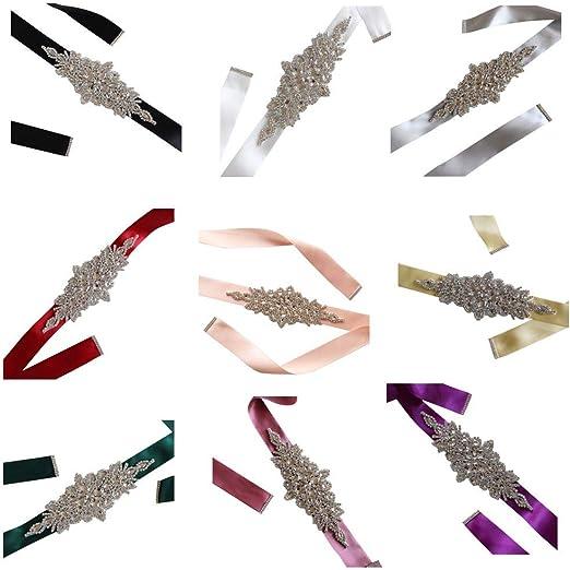 Hotaluyt Cintas de Boda Nupcial Correa cristalina de los Marcos del Partido de Tarde del Vestido de Fiesta Hecho a Mano de la Pretina de Diamantes de imitación: Amazon.es: Hogar