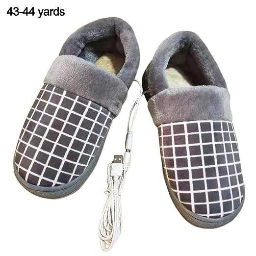 Pantuflas eléctricas con calefacción USB: zapatillas de invierno ...