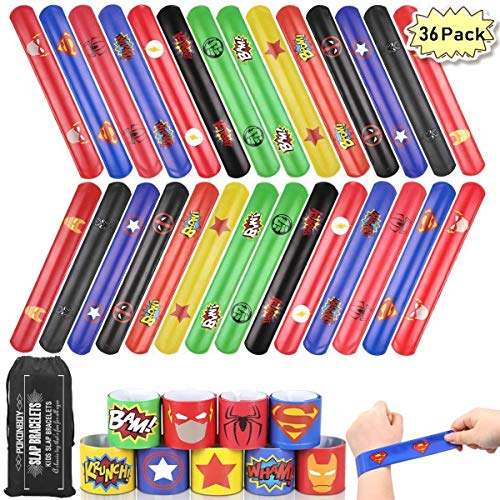 Buy Discount POKONBOY Superhero Slap Bracelets for Kids - 36 Pack Slap Bracelets Superhero Birthday ...