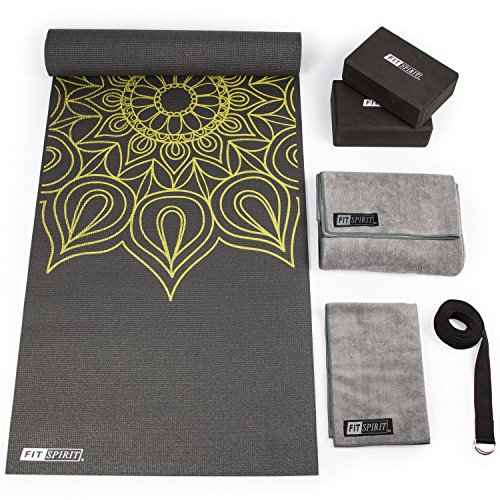 FIT SPIRIT Yoga Mat Starter Set Kit w/Blocks, Towels n Strap