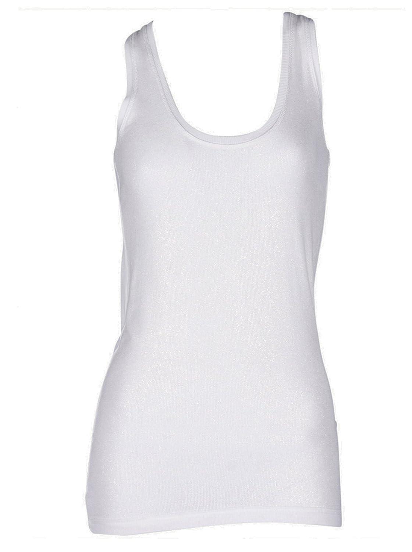 GWYNEDDS Damen Top Tank Tanktop Tshirt ärmellos - Viskose weiss