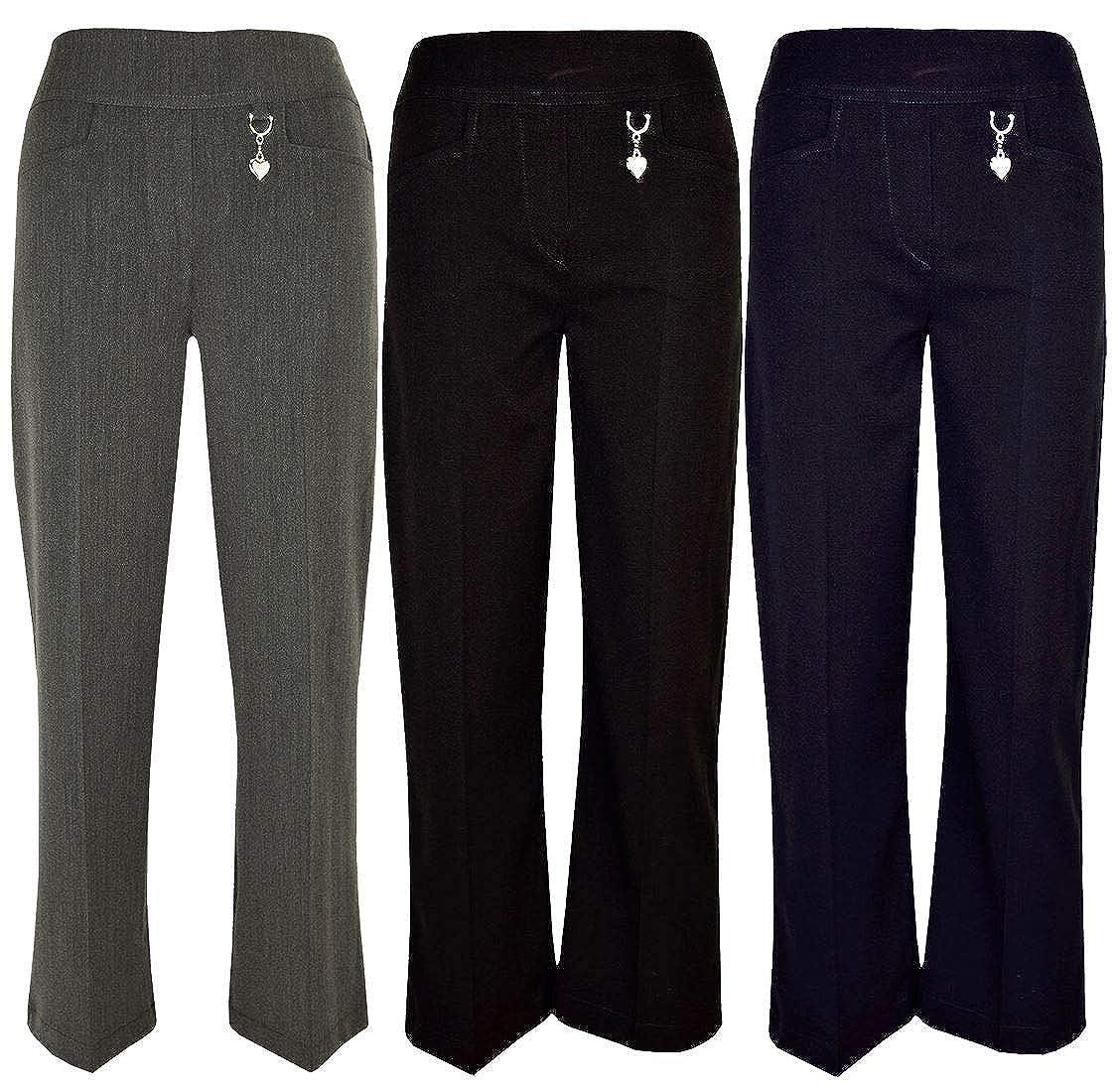MA ONLINE Kids Elasticated Back Heart Buckle Trousers Girls School Wear Adjustable Waist Pants 2-16 Years
