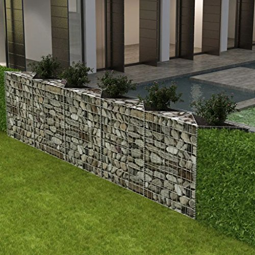 Festnight Outdoor Garden Gabion Basket Planter Raised Vegetable Bed Galvanized Steel 129.9