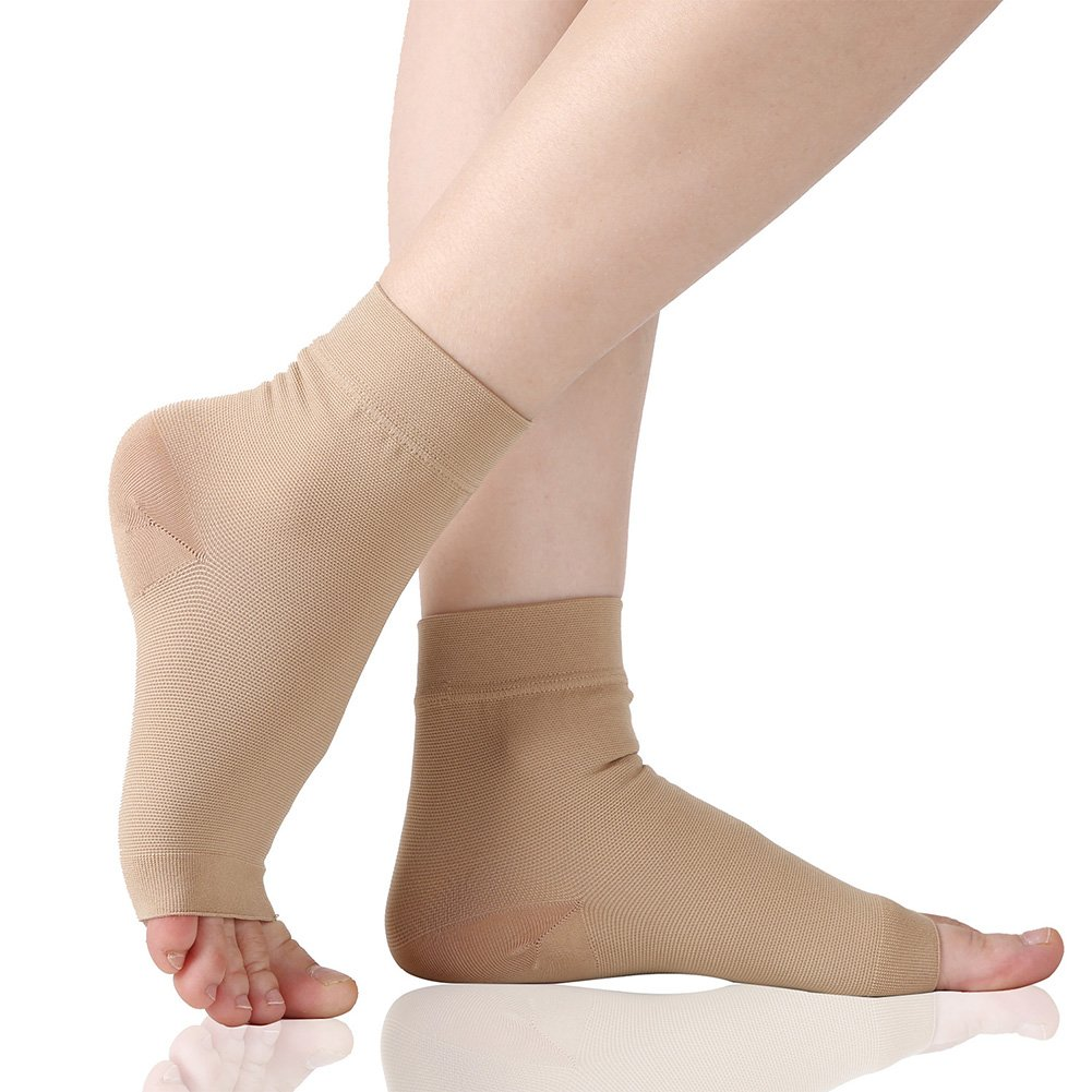 Plantar Fasciitis Socks, 20-30 mmHg Foot Care Compression Sleeve for Men Women, Compression Socks for Arch Support & Ankle Brace, Eases Swelling & Heel Spurs, Pain Relief, Injury Recovery. Beige XL