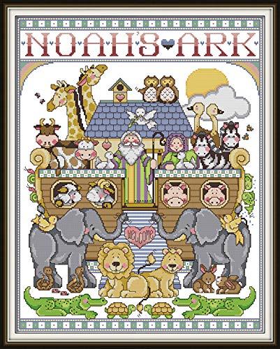 Joy Sunday Cross Stitch Kit 14CT Stamped Embroidery Kits Precise Printed Needlework - Noah's Ark (1) 45×55CM
