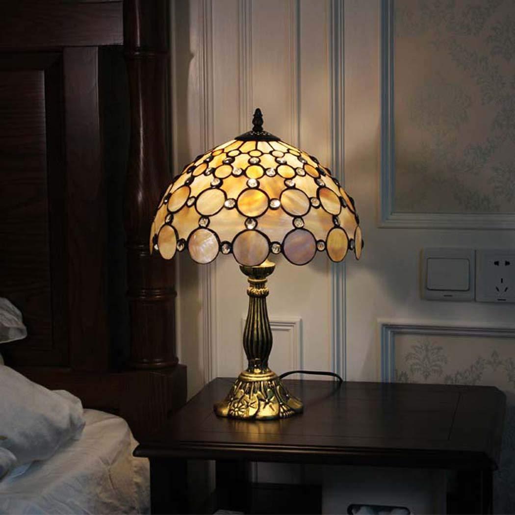 ティファニースタイルのテーブルランプ、暖かいアートテーブルランプクリエイティブレトロステンドシェルランプシェード、ベッドルーム、研究装飾ベッドサイドライト、夜間照明 (色 : Glass beads)  Glass beads B07KXR3SBC