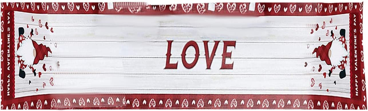 Qiiueen Table Runner Valentines Day Red White Table Runner 14x108 inch Custom Decor Cloth for Holidays Party Anniversary Event Dining Room//Kitchen 14x107inch