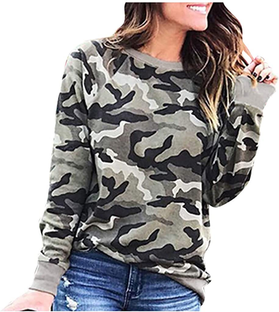 IEasⓄn Women Camouflage Print Crew Neck Long Sleeve Tshirt Tops Blouse