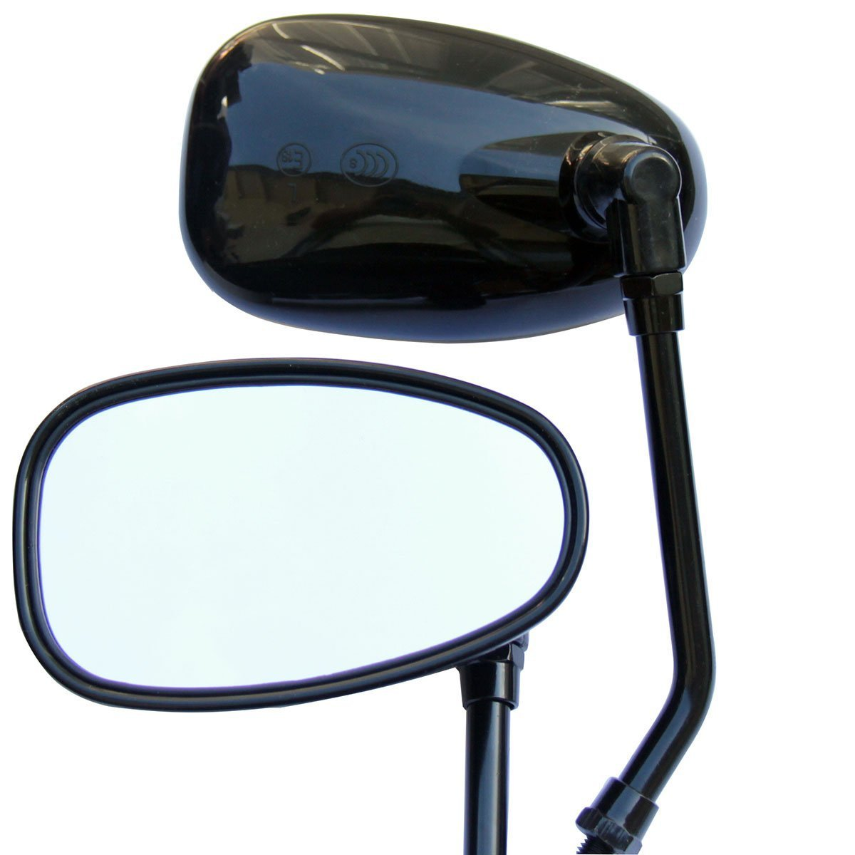 Black Oval Rear View Mirrors for 2005 Yamaha V Star 650 XVS650 Custom