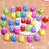 Krismile® 20 Pieces Set Mini Scrapbook Punches Handmade Cutter Card Craft Calico Printing DIY Flower Paper Craft Punch Hole Puncher Shape