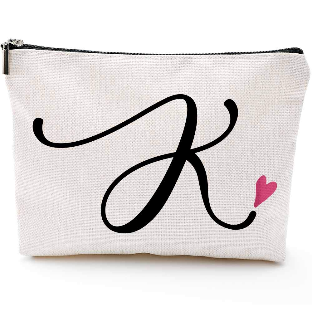 K Initial Monogram Personalized Travel Makeup Bag,Cosmetic Bag Pencil Pouch Gifts with Zipper Waterproof(Makeup bag-Letter K)