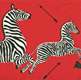 Entertaining with Caspari Dinner Napkins, Zebras Red, Pack of 20