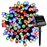 Freekite Outdoor String Lights,100 LED 8 Modes 39ft/12m,Solar Powered Waterproof Fairy Lights,Decorative Lighting for Garden,Outside, Christmas,Tree, Patio, Wedding, Party (Multi-Colored, 100 LED)