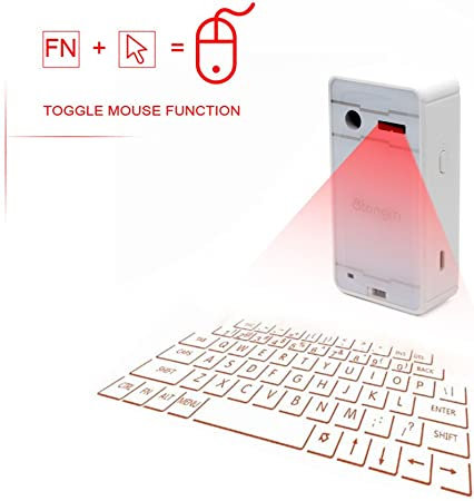 SHANGXIAN Bluetooth Laser Keyboard Virtual Projection Wireless Keyboard for Ipad iPhone Android Smart Phones PC Notebook,White