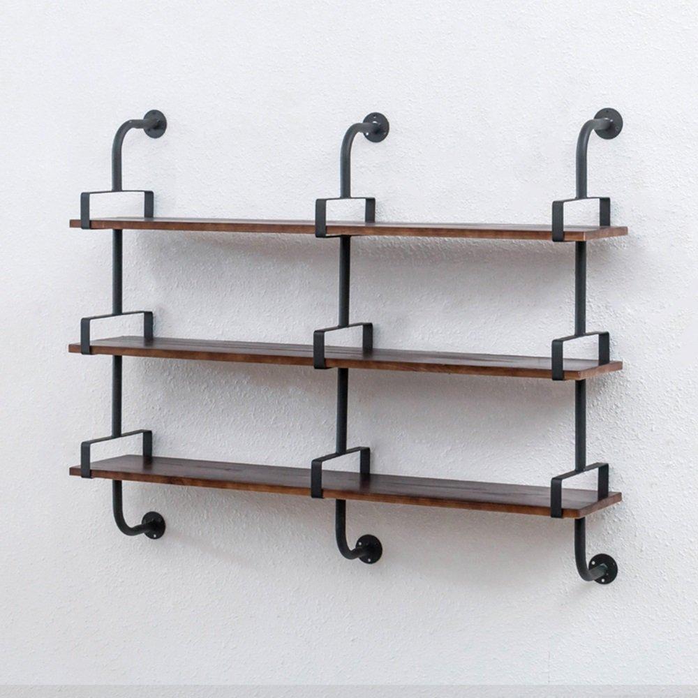 工業用風の壁の棚の棚/木製のパーティション鍛鉄の壁掛け棚/ 120 * 110cm B07FZ3ZPQT