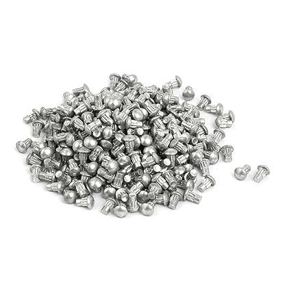 uxcell 500pcs M2 x 4mm Knurled Shank Round Head Aluminum Solid Rivet Silver Tone