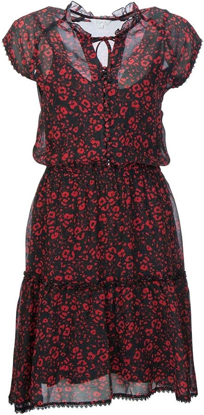 FROGBOX Damen Viskose Kleid Red Leo 13-13727: Amazon.de: Bekleidung