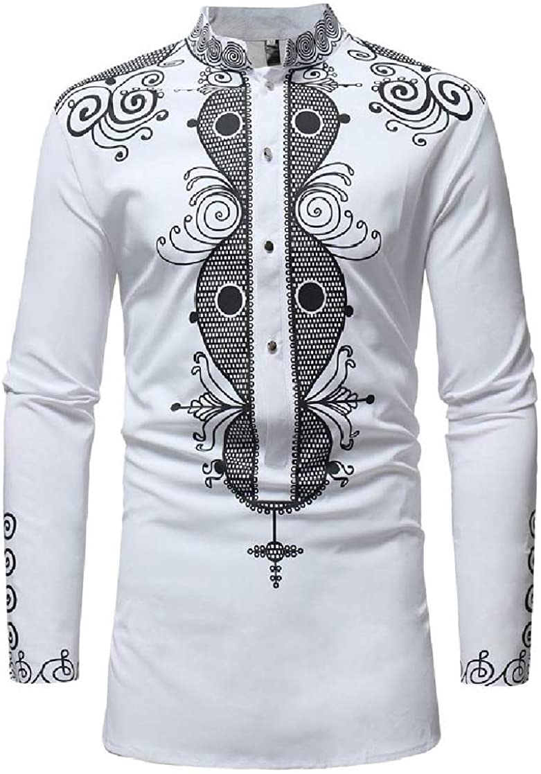 YUNY Mens Printed Mid-Long Stand Collar Long Sleeve African Style Top Shirt White XL