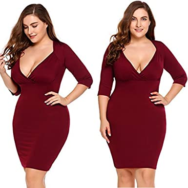 Birdfly Women Plus Size Sexy V-Neck Cleavage Dress Bodycon Ladies Evening Party Formal Dress