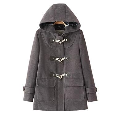 6c6763b71cd76 Nergivep Women Winter Duffle Trench Hooded Horn Button Zip Parka Woollen  Coat