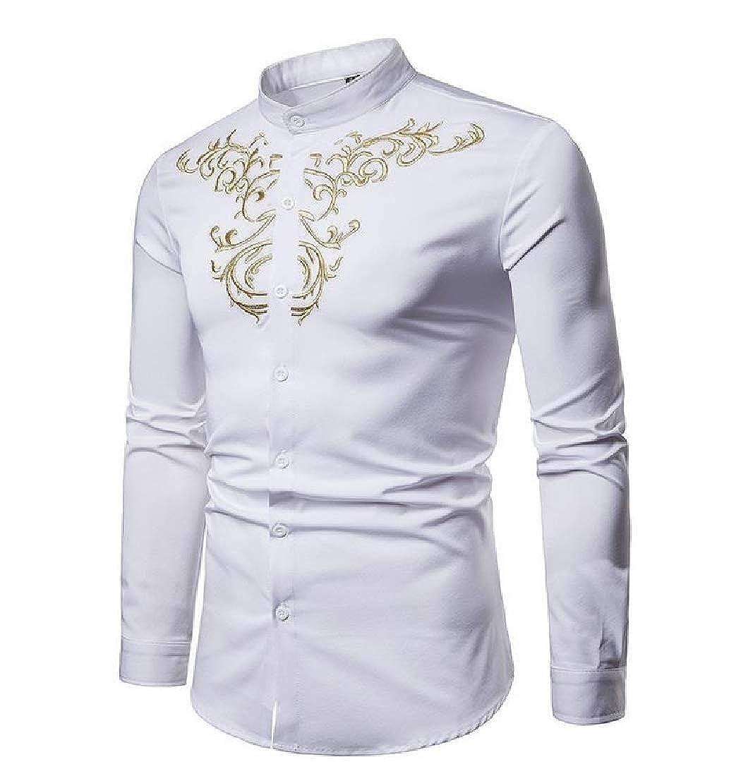 Losait Mens Plus-Size Comfy Botton Front Classic Embroidered Work Shirt
