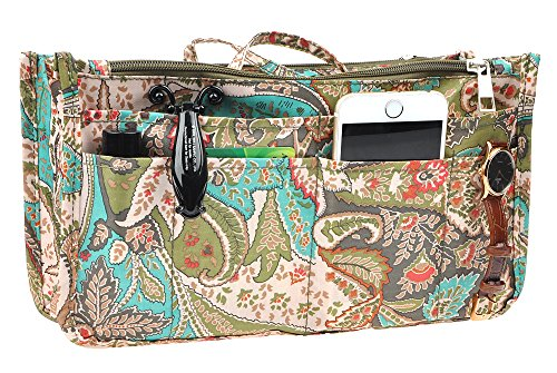 Vercord Printed Purse Handbag Tote Insert Organizer 13 Pockets with Zipper Handle Peacock Flowers Large