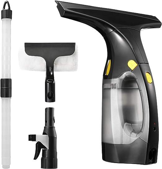 Urceri - Aspirador eléctrico, 180 ml, limpiador profesional sin hilos para limpiar cristales, recargable 2000 mAh, varilla de extensión (61 cm) e indicador LED, para espejo, suelo y azulejos: Amazon.es: Hogar