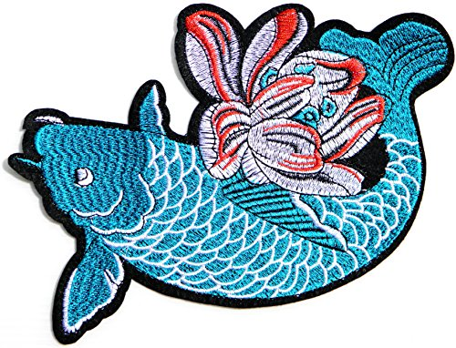 (Japanese Carp Koi Fish Lotus Lucky Animal Sign Patch Sew Iron on Embroidered Applique T-shirt Jean Jacket Pants Decoration DIY Costume)