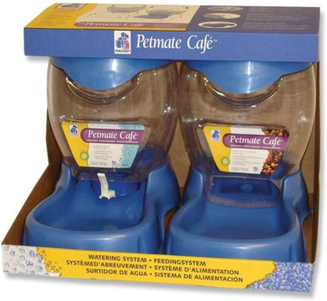 Petmate Café 3.5 pound Feeding and 3 Quart Watering System, Planet Blue