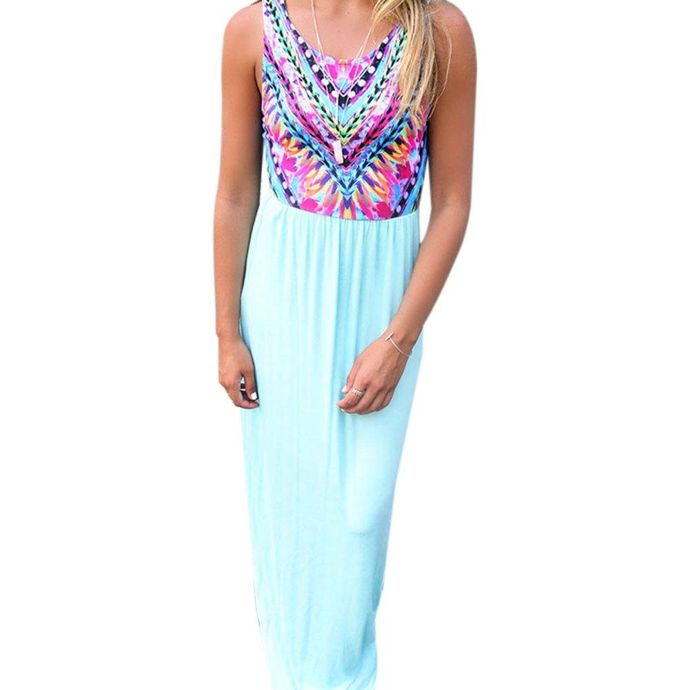 iPretty Damen Sommerkleid lang Boho ärmellos Strandkleid Rock Chiffonkleid Urlaub Kleid Cocktaikleid Vintage Kleid