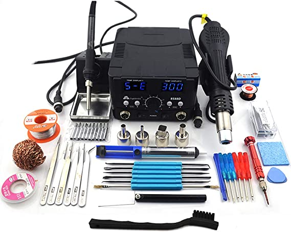 MYPOVOS 2 IN 1 800W LED Digital Soldering Station Hot Air Gun Rework Station Electric Soldering Iron For Phone PCB IC SMD BGA Welding SET 110V (8588D SET-E)