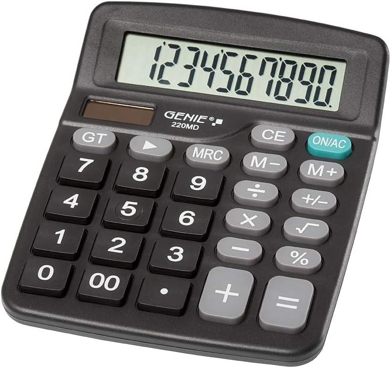 solare e batteria colore: Nero Genie 220 MD design compatto 1 pezzo Calcolatrice da tavolo a 10 cifre Dual Power