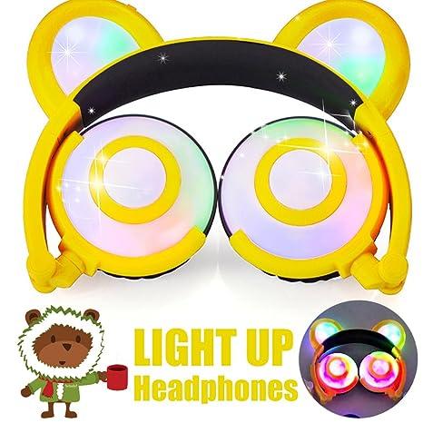 Amazon Com Kids Headphones Bear Ear Amenon Usb Rechargeable Wired