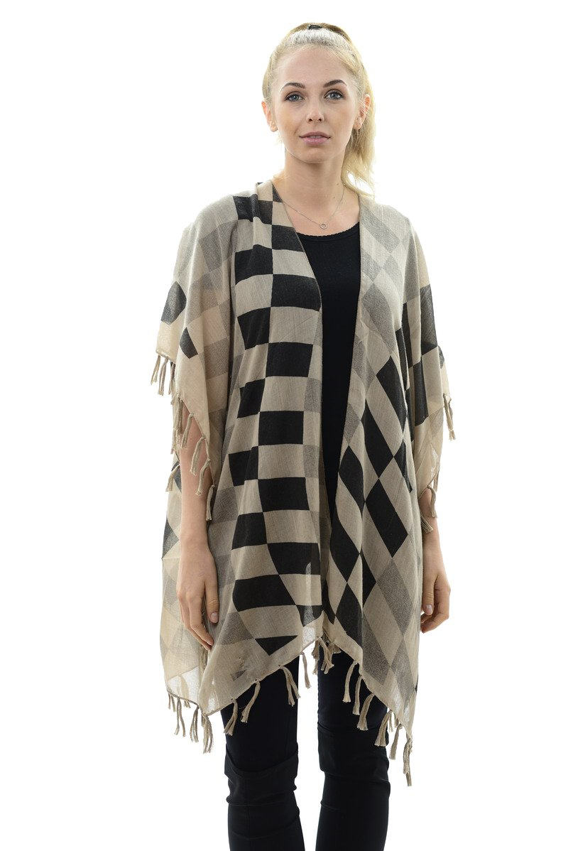 BYOS Womens Fashion Lightweight Printed Open Front Kimono Cardigan Beach Cover-up Various Patterns (Beige Contrast Checkerboard)