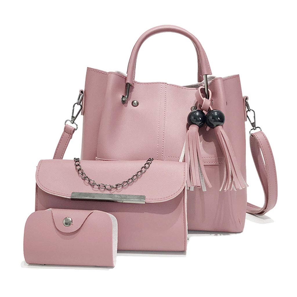 Cher9 3pcs Women Lady Leather Handbag Tassel Shoulder Bags Tote Purse Messenger Satchel Top Handle Bag Set
