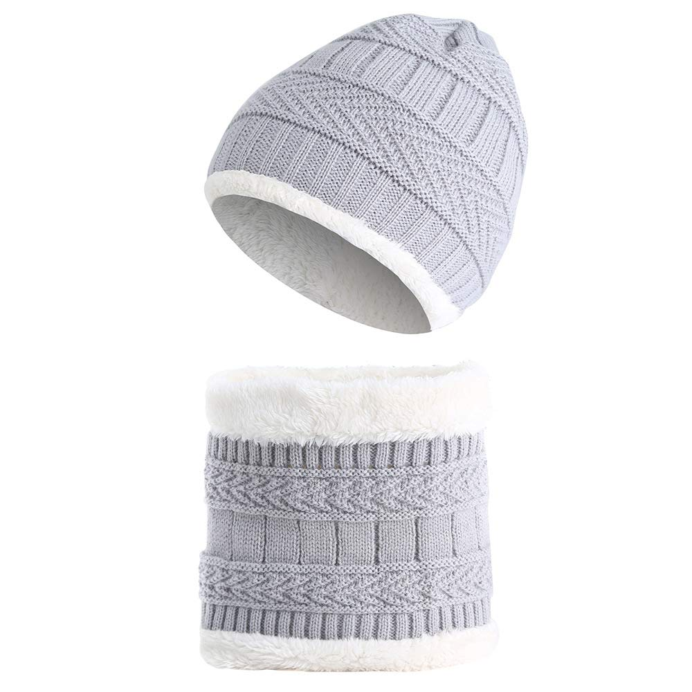 Miwear Knitted Toddler Hat Baby Boy Girl Plus Velvet Hat Beanie Cap with Bib Set