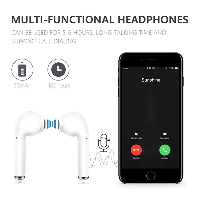 Amazon.com: Richard Nesbitt Bluetooth Headset I7, in-Ear Headphones with Microphone, Anti-Sweat Sports Earbuds, with Charging Case for Smartphones (White): ...