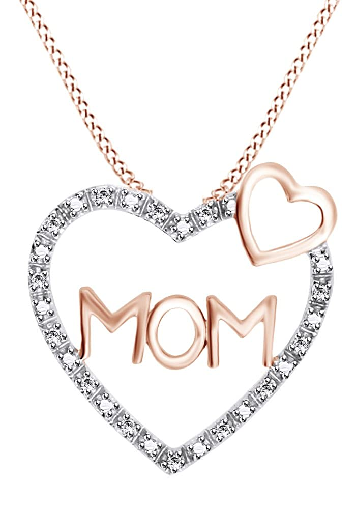 AFFY Round Cut White Natural Diamond Heart Shaped Moms Pendant Necklace in 14k Gold Over Sterling Silver