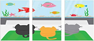 """Canvas Wall Art Ready To Hang, Cat Unframed Poster and Prints on Canvas - Cats Sitting on a Carpet and Looking at Cheerful Fish Tank Cat Family of Three Content 16"""" x 24"""" x 3pcs Multicolor"""