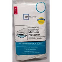 Mainstays Vinyl Fitted Mattress Protector, White, Full ...