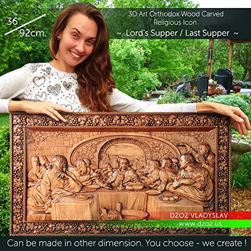 36''/92cm Lord`s Supper / Last Supper Wood carved 3D painting icon orthodox art by Wood Carving Dzoz