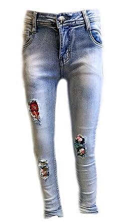 e36786891360e7 SQUARED   CUBED F-J016 Mädchen Jeans Jeanshose xslim Pailletten Blumen  Destroyed (104